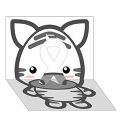 Kawaii Zebra Ribbon 3d Greeting Card (7x5)