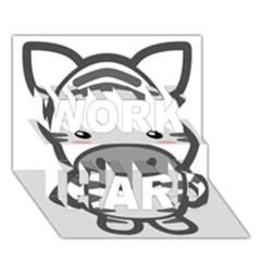 Kawaii Zebra Work Hard 3d Greeting Card (7x5)