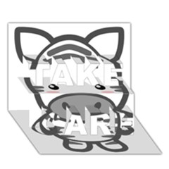 Kawaii Zebra TAKE CARE 3D Greeting Card (7x5)