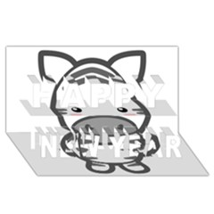 Kawaii Zebra Happy New Year 3D Greeting Card (8x4)