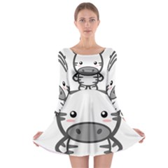 Kawaii Zebra Long Sleeve Skater Dress