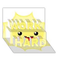 Kawaii Sun WORK HARD 3D Greeting Card (7x5)