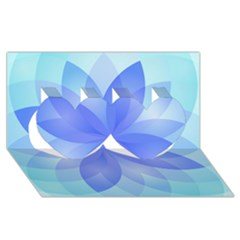 Abstract Lotus Flower 1 Twin Hearts 3D Greeting Card (8x4)