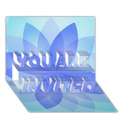 Abstract Lotus Flower 1 You Are Invited 3d Greeting Card (7x5)