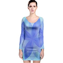 Abstract Lotus Flower 1 Long Sleeve Bodycon Dresses