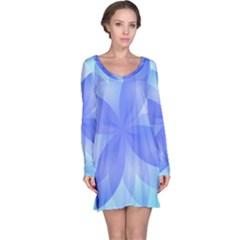 Abstract Lotus Flower 1 Long Sleeve Nightdresses