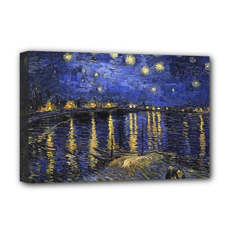 Vincent Van Gogh Starry Night Over The Rhone Deluxe Canvas 18  x 12