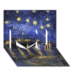 Vincent Van Gogh Starry Night Over The Rhone I Love You 3d Greeting Card (7x5)