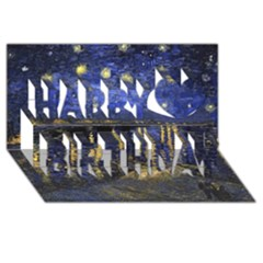Vincent Van Gogh Starry Night Over The Rhone Happy Birthday 3D Greeting Card (8x4)