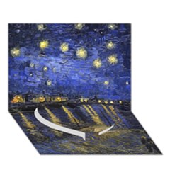 Vincent Van Gogh Starry Night Over The Rhone Heart Bottom 3D Greeting Card (7x5)