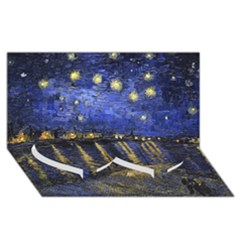 Vincent Van Gogh Starry Night Over The Rhone Twin Heart Bottom 3d Greeting Card (8x4)