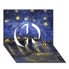 Vincent Van Gogh Starry Night Over The Rhone Peace Sign 3D Greeting Card (7x5)