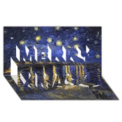Vincent Van Gogh Starry Night Over The Rhone Merry Xmas 3d Greeting Card (8x4)