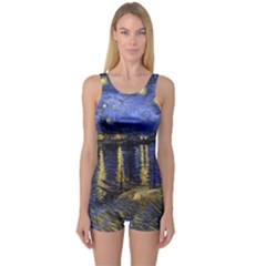 Vincent Van Gogh Starry Night Over The Rhone Women s Boyleg One Piece Swimsuits