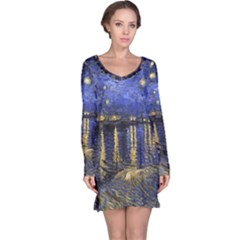 Vincent Van Gogh Starry Night Over The Rhone Long Sleeve Nightdresses