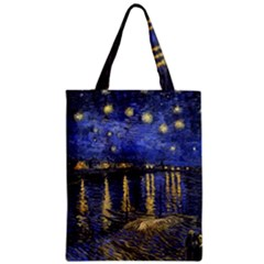 Vincent Van Gogh Starry Night Over The Rhone Zipper Classic Tote Bags