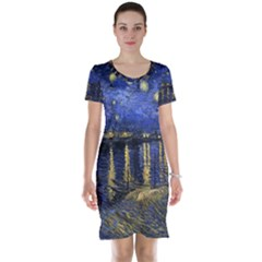 Vincent Van Gogh Starry Night Over The Rhone Short Sleeve Nightdresses