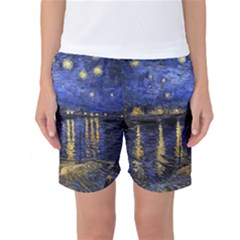 Vincent Van Gogh Starry Night Over The Rhone Women s Basketball Shorts