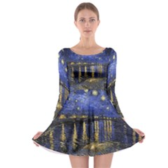 Vincent Van Gogh Starry Night Over The Rhone Long Sleeve Skater Dress
