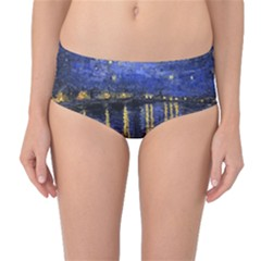 Vincent Van Gogh Starry Night Over The Rhone Mid Waist Bikini Bottoms