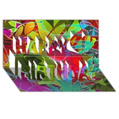 Floral Abstract 1 Happy Birthday 3D Greeting Card (8x4)