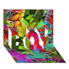 Floral Abstract 1 BOY 3D Greeting Card (7x5)