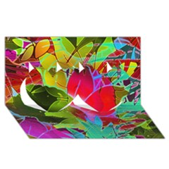 Floral Abstract 1 Twin Hearts 3d Greeting Card (8x4)