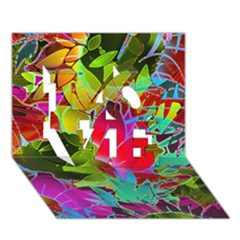 Floral Abstract 1 LOVE 3D Greeting Card (7x5)