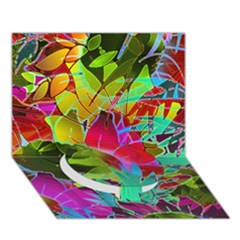 Floral Abstract 1 Circle Bottom 3D Greeting Card (7x5)