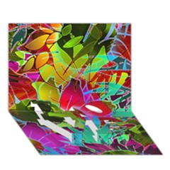 Floral Abstract 1 LOVE Bottom 3D Greeting Card (7x5)