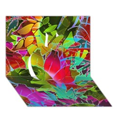 Floral Abstract 1 Apple 3d Greeting Card (7x5)