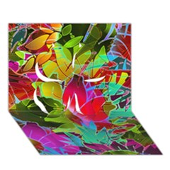 Floral Abstract 1 Clover 3d Greeting Card (7x5)