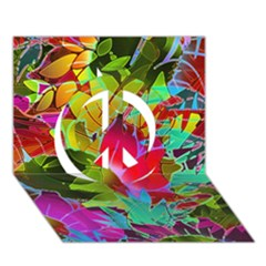 Floral Abstract 1 Peace Sign 3D Greeting Card (7x5)
