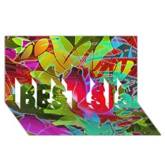 Floral Abstract 1 BEST SIS 3D Greeting Card (8x4)