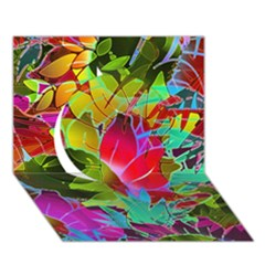 Floral Abstract 1 Circle 3D Greeting Card (7x5)