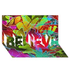 Floral Abstract 1 BELIEVE 3D Greeting Card (8x4)