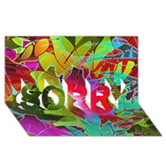 Floral Abstract 1 Sorry 3d Greeting Card (8x4)