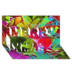 Floral Abstract 1 Merry Xmas 3D Greeting Card (8x4)