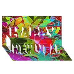 Floral Abstract 1 Happy New Year 3D Greeting Card (8x4)