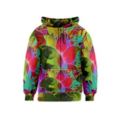 Floral Abstract 1 Kids Zipper Hoodies