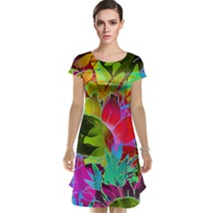 Floral Abstract 1 Cap Sleeve Nightdresses