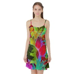 Floral Abstract 1 Satin Night Slip
