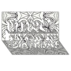 Drawing Floral Doodle 1 Happy Birthday 3d Greeting Card (8x4)