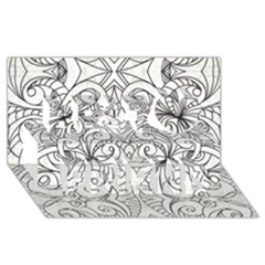 Drawing Floral Doodle 1 Best Friends 3d Greeting Card (8x4)