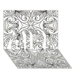 Drawing Floral Doodle 1 Girl 3d Greeting Card (7x5)