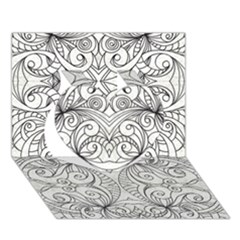 Drawing Floral Doodle 1 Heart 3d Greeting Card (7x5)