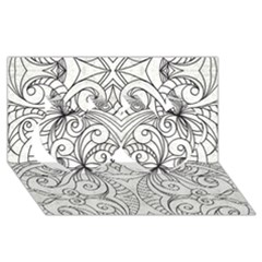 Drawing Floral Doodle 1 Twin Hearts 3D Greeting Card (8x4)