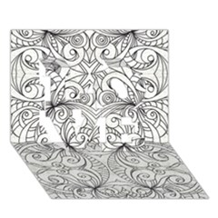 Drawing Floral Doodle 1 LOVE 3D Greeting Card (7x5)