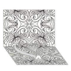 Drawing Floral Doodle 1 Heart Bottom 3d Greeting Card (7x5)