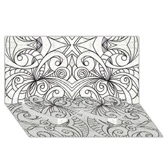 Drawing Floral Doodle 1 Twin Heart Bottom 3d Greeting Card (8x4)
